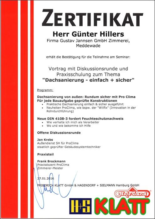 Unsere Vielen Zertifikate Und Auszeichnungen Zimmerei Jannsen